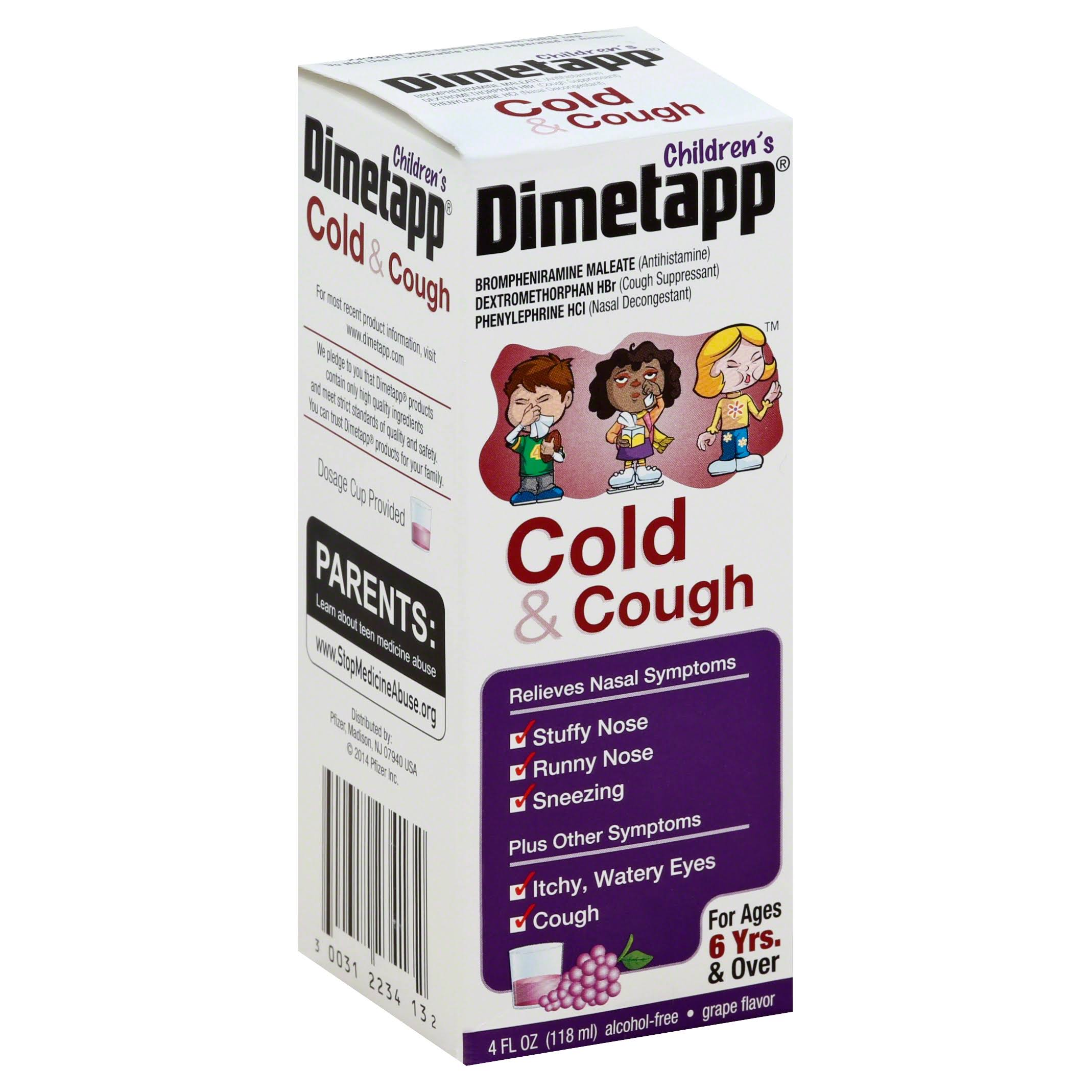 Dimetapp Children's Cold & Cough Grape Flavor for Ages 6 Yrs & Over - 4 oz