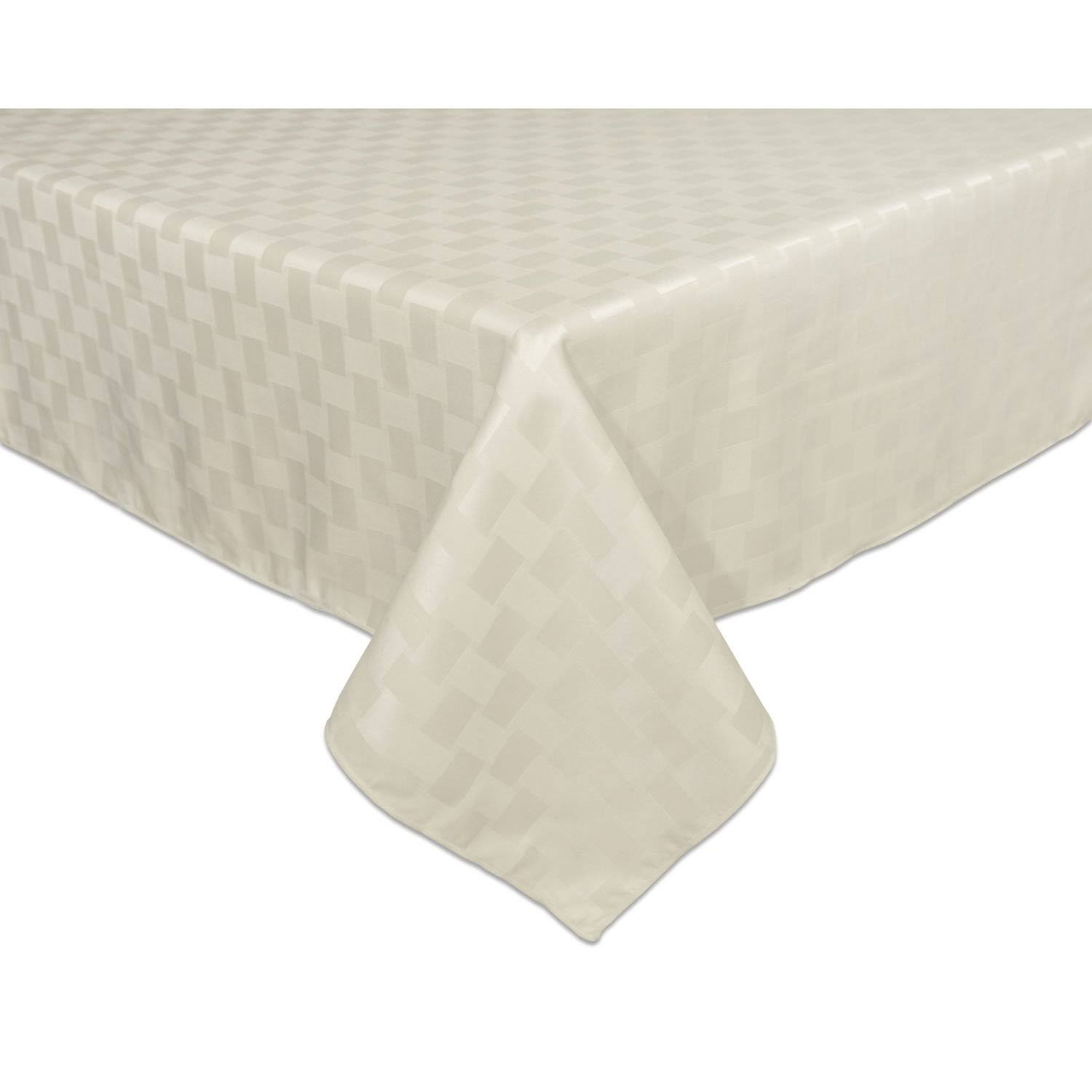"Bardwil Reflections Spill Proof Oblong Rectangle Tablecloth - 60""x102"", Pearl"