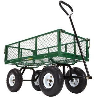 Gorilla Carts GOR400-COM Steel Garden Cart - with Removable Sides, 400lbs Capacity, Green