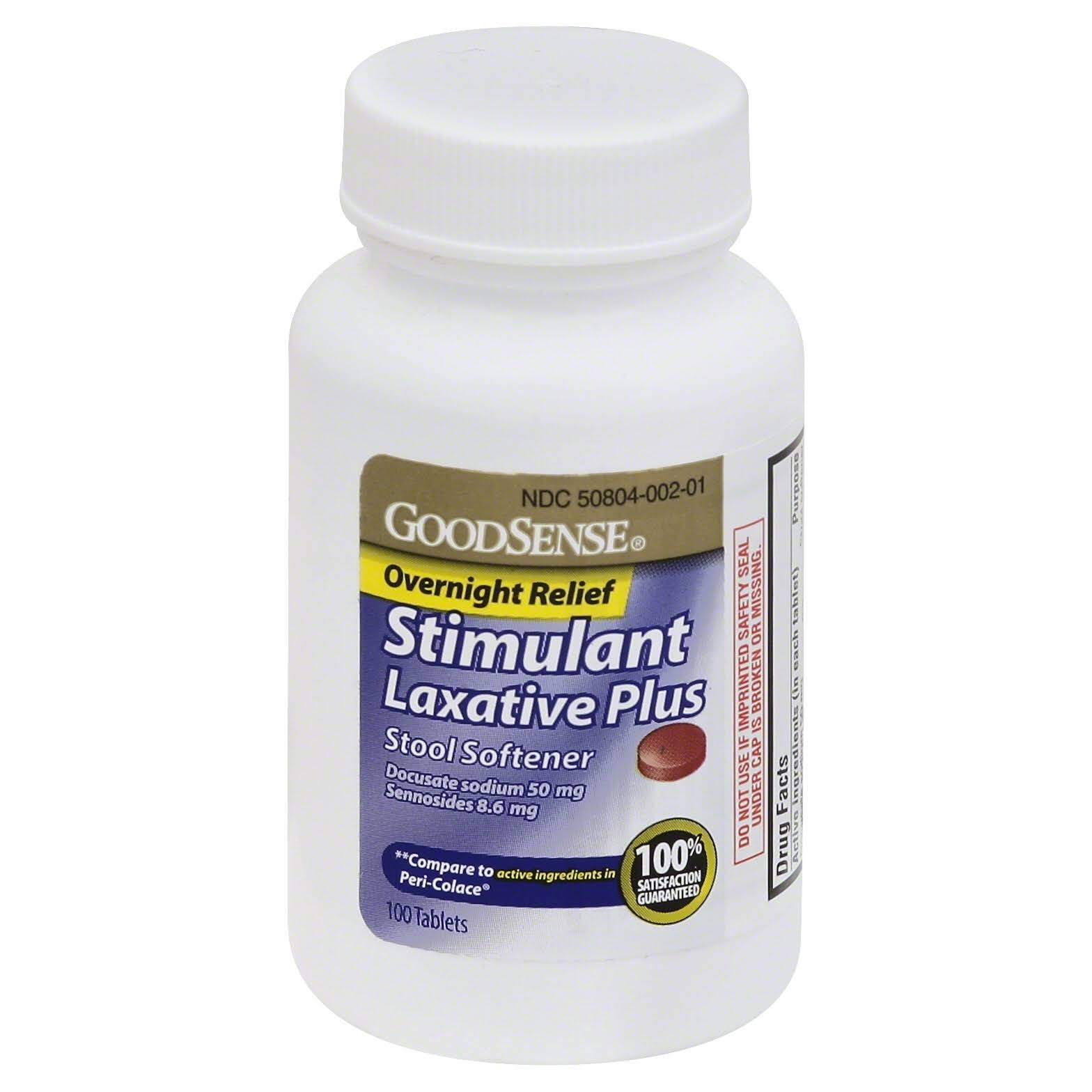 GoodSense Stool Softener, Overnight Relief, Stimulant Laxative Plus, Tablets - 100 tablets
