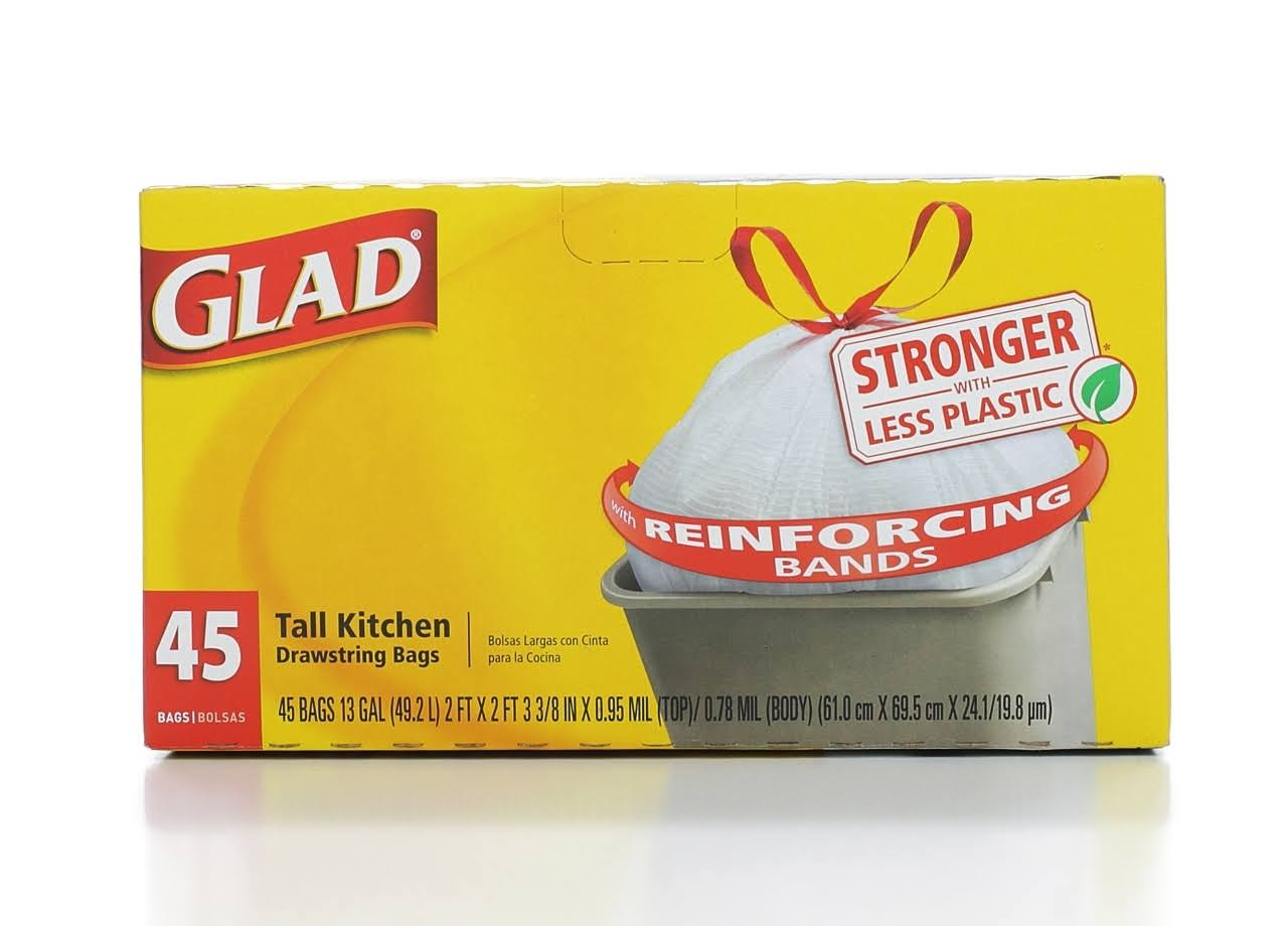 Glad Tall Kitchen Trash Bags - 13gal, x45