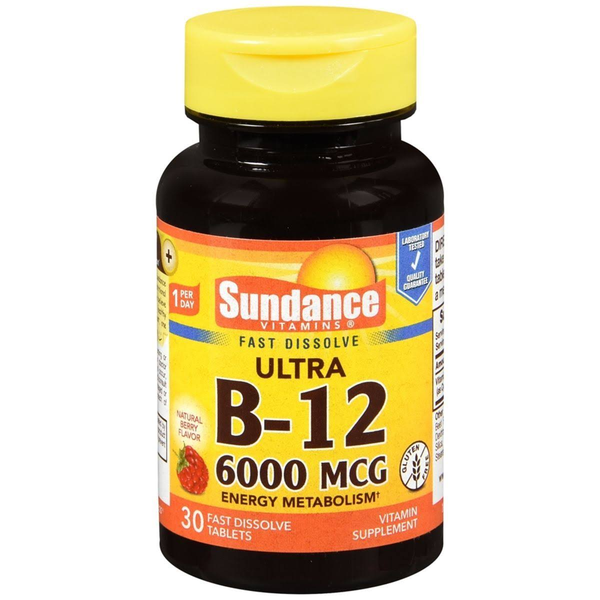 Sundance Ultra Vitamin B12 Tablets Metabolism Supplement - 30ct
