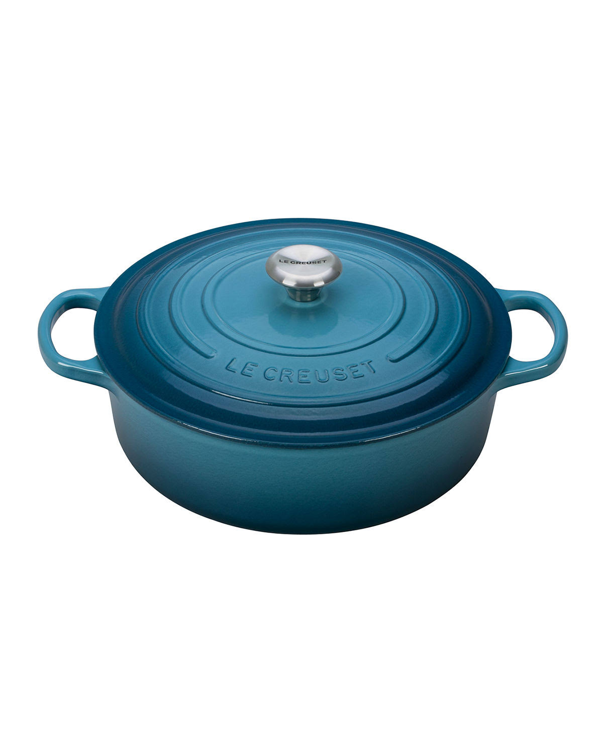 Le Creuset Enameled Signature Round Wide Cast Iron Dutch Oven Cookware - Marine, 6.75 Quarts