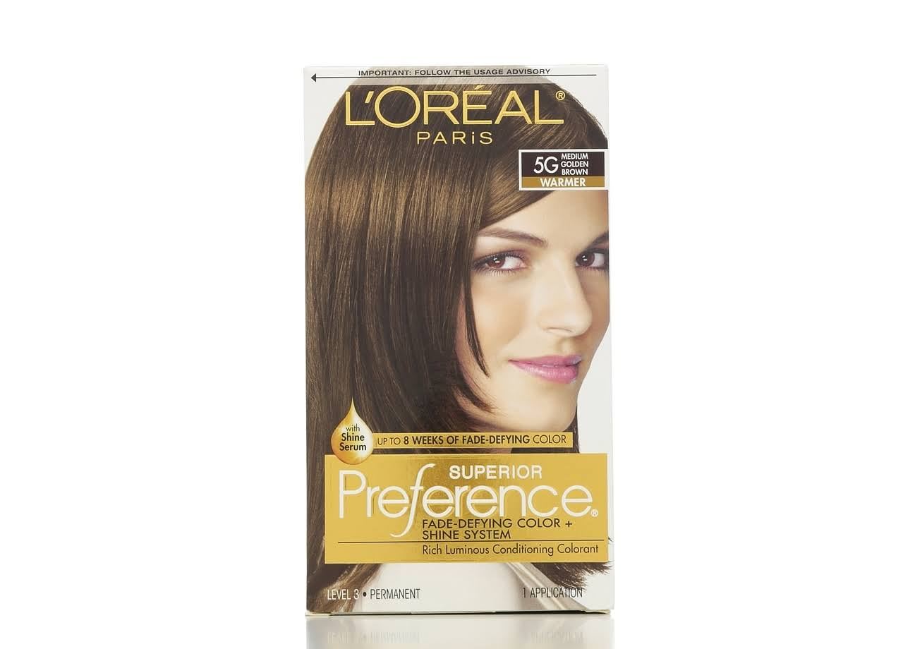 L'Oreal Paris Superior Preference Fade-Defying Color + Shine System - 5G M Golden Brown