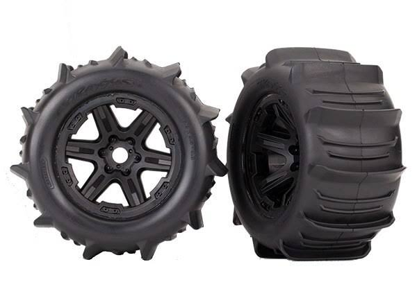 "Traxxas Paddle Tyres Mounted Wheels - Black, 3.8"", 2pcs"
