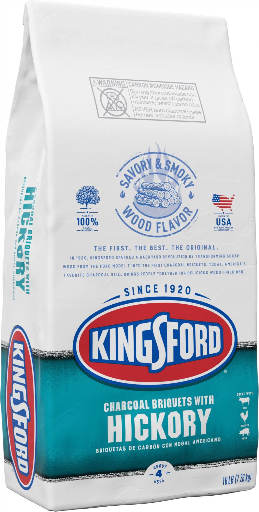 Kingsford Charcoal Briquets, with Hickory - 16 lb