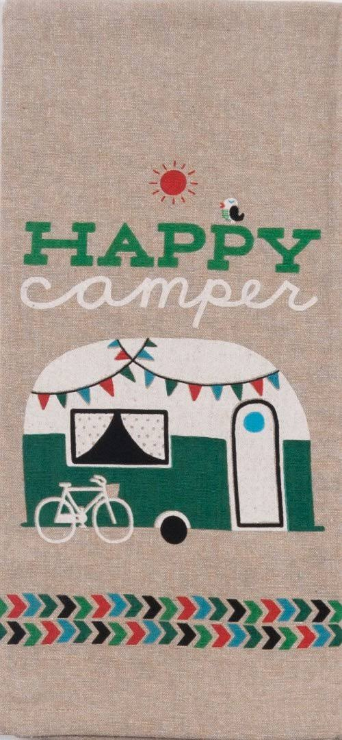 Kay Dee Designs Happy Camper Chambray Tea Towel