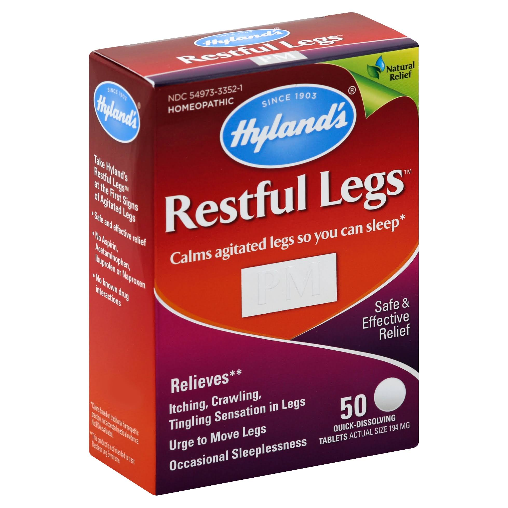 Hylands Restful Legs, PM, 194 mg, Quick Dissolving Tablets - 50 tablets