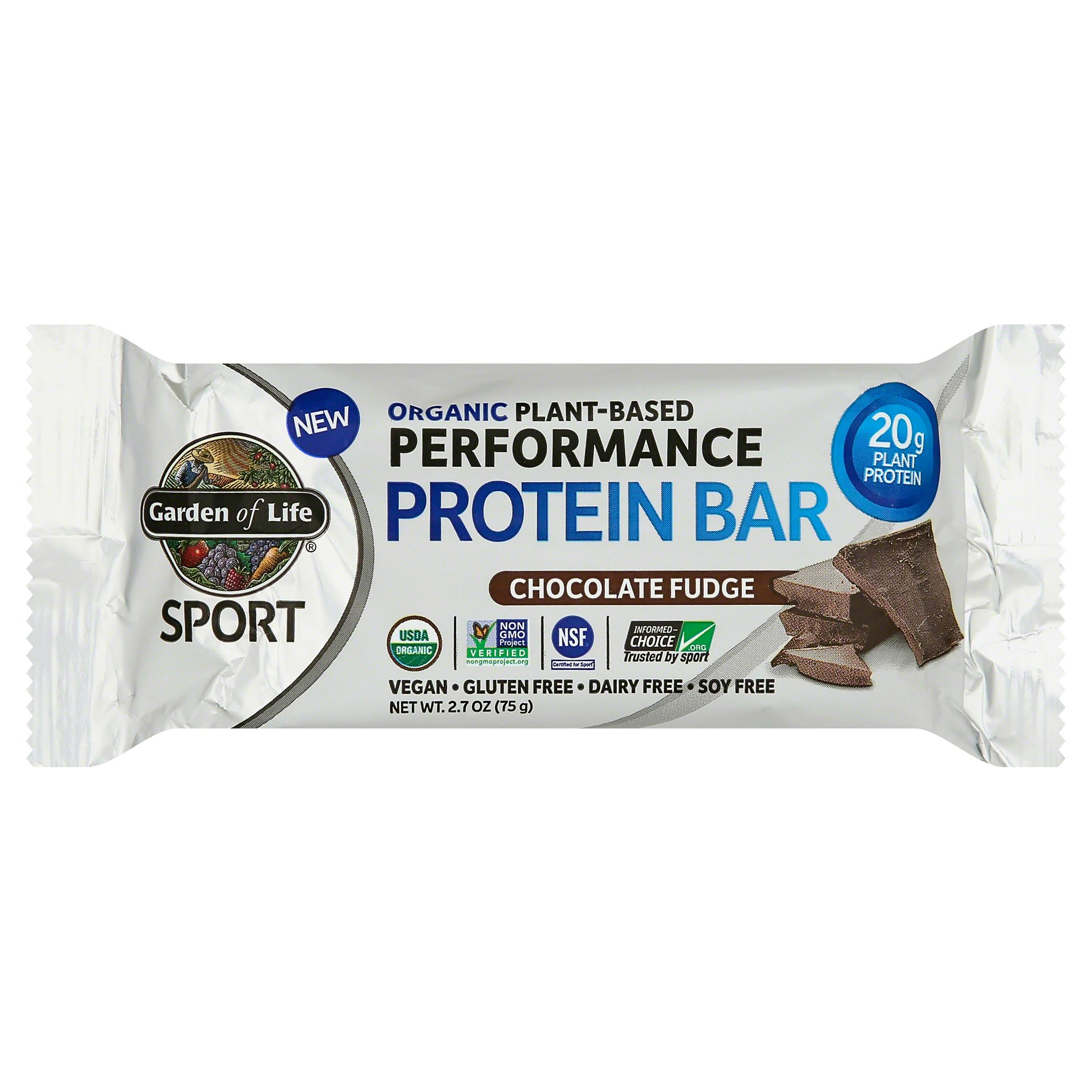 Garden of Life Sport Protein Bar, Performance, Organic Plant-Based, Chocolate Fudge - 2.7 oz