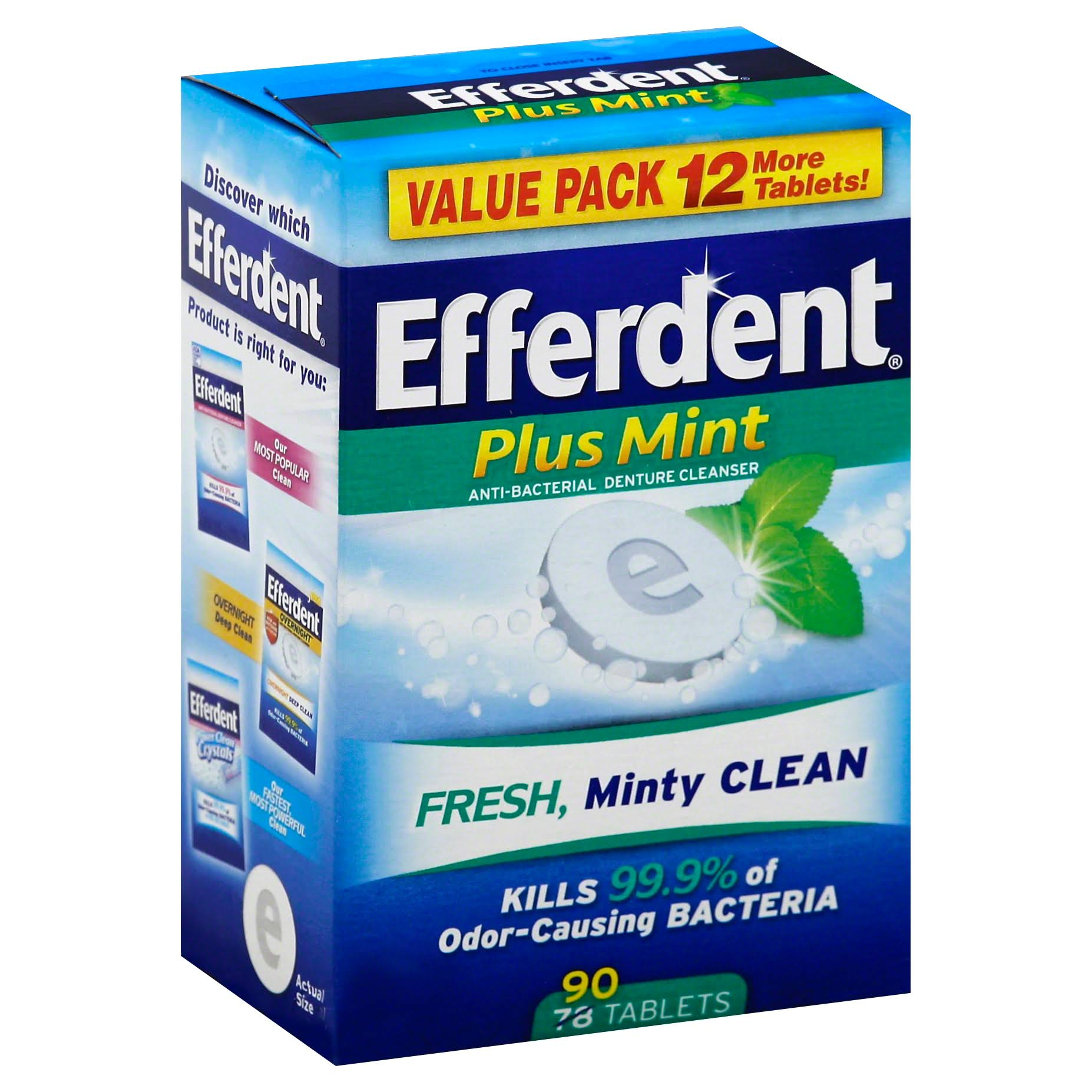 Efferdent Plus Mint Anti-Bacterial Denture Cleanser - 90 ct