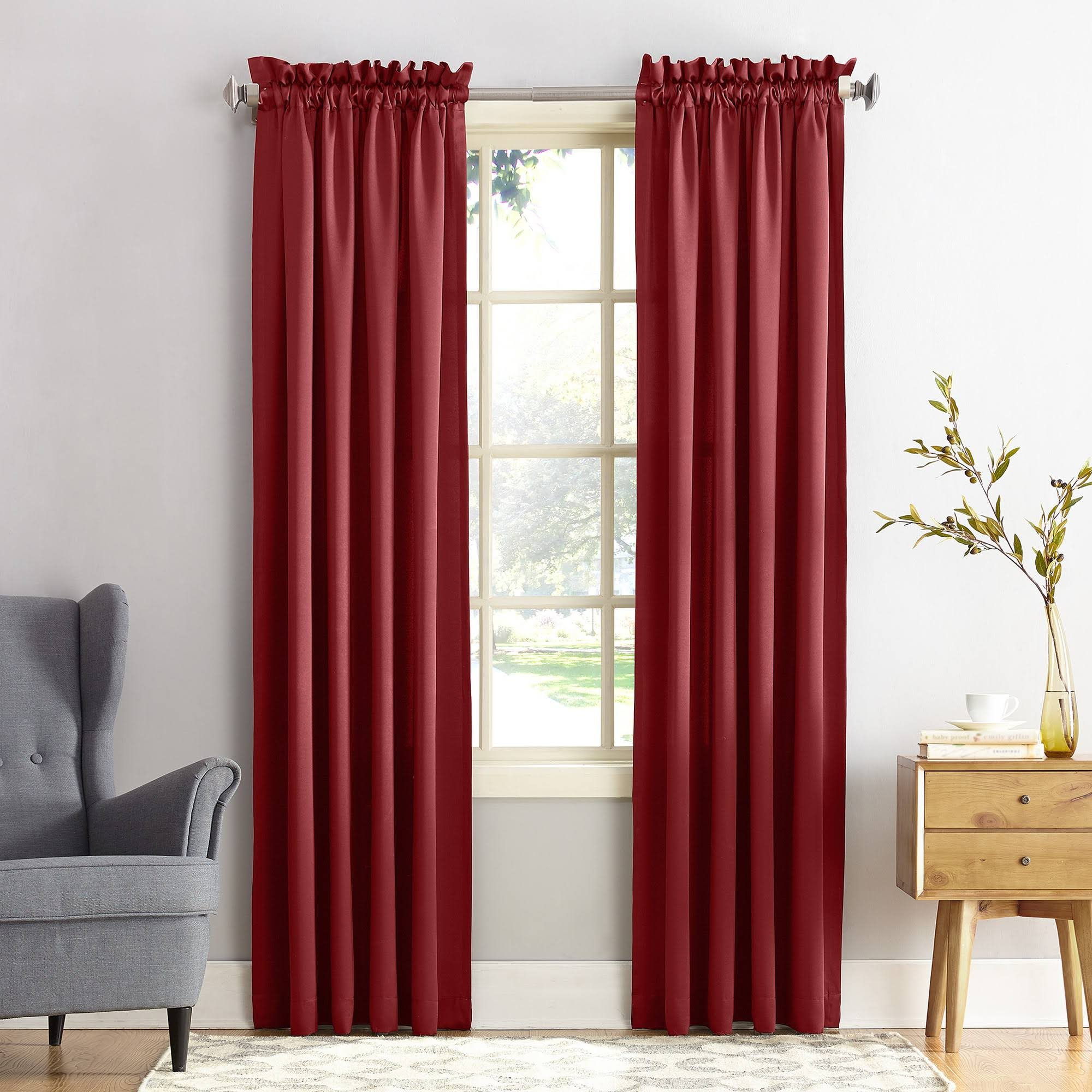 Sun Zero 1-Panel Gramercy Room Darkening Window Curtain, Brick