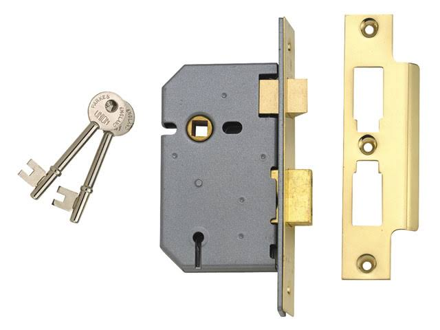 Union 3 Lever Mortice Polished Brass Sashlock - 77.5mm