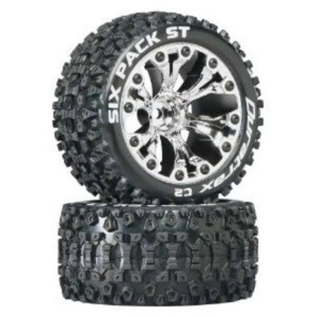 "Duratrax Six Pack St 2wd Mounted Tire - 1/2"" Offset, Chrome, 2.8"""