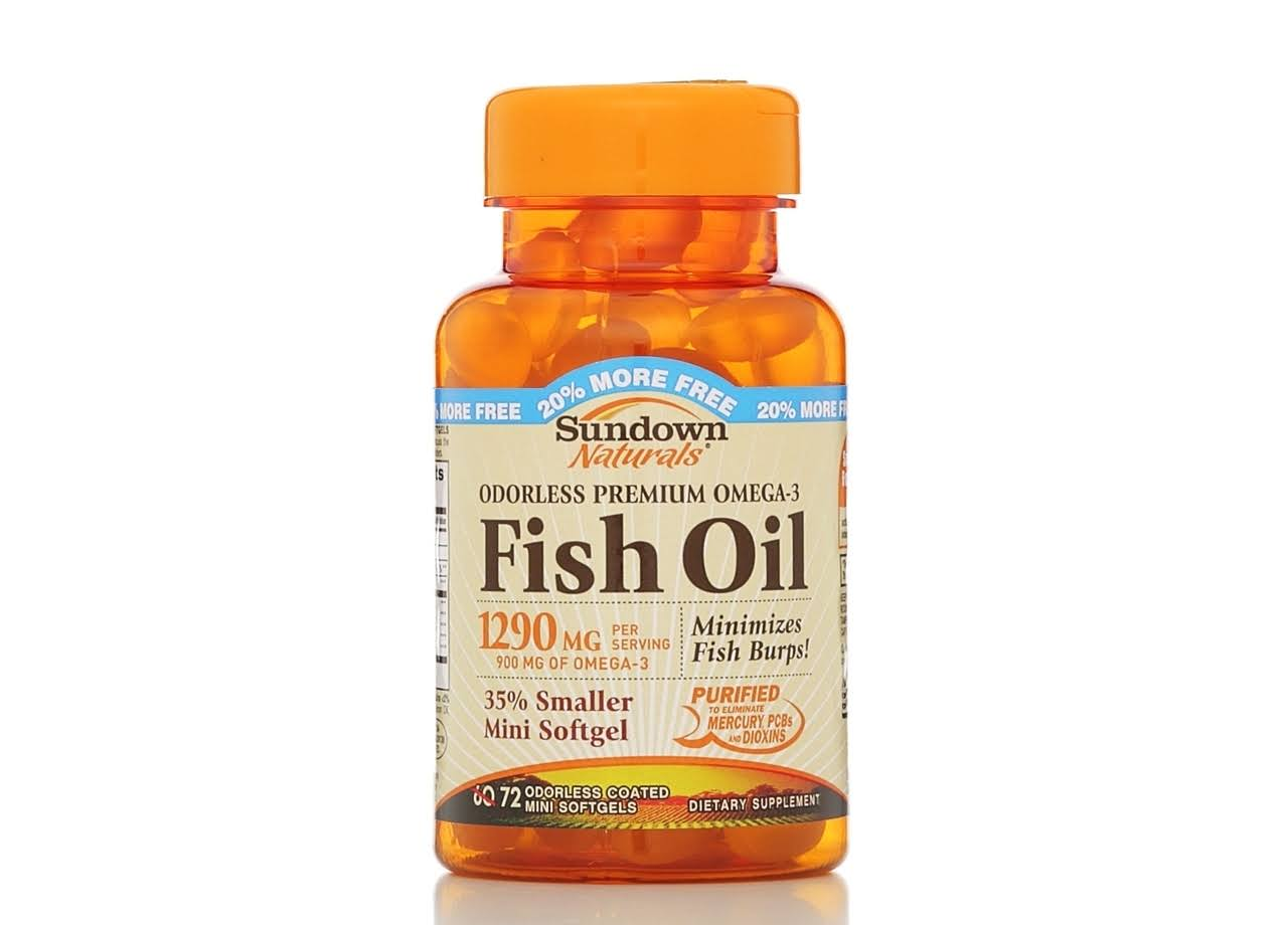 Sundown Naturals Odorless Omega-3 Fish Oil Dietary Supplement - 60ct