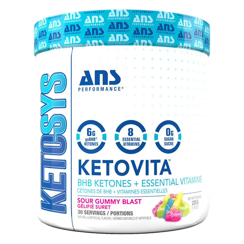 ans Performance Ketovita Vitamins | 30 Servings | Sour Gummy Blast | Keto-Bhb UK | Non-Stimulant Fat Burners | 6g of 3-Oh Butyrate for Energy Boost