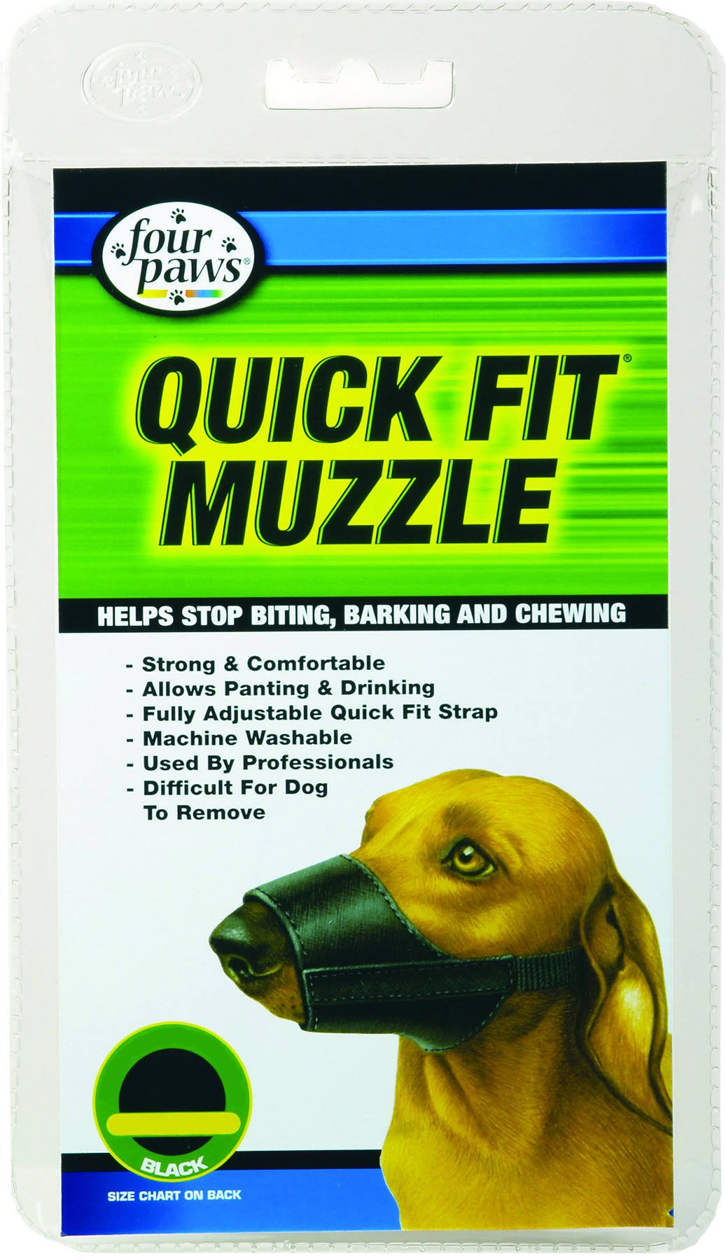 Four Paws Quick Fit Cloth Dog Muzzle - Size 0, Black