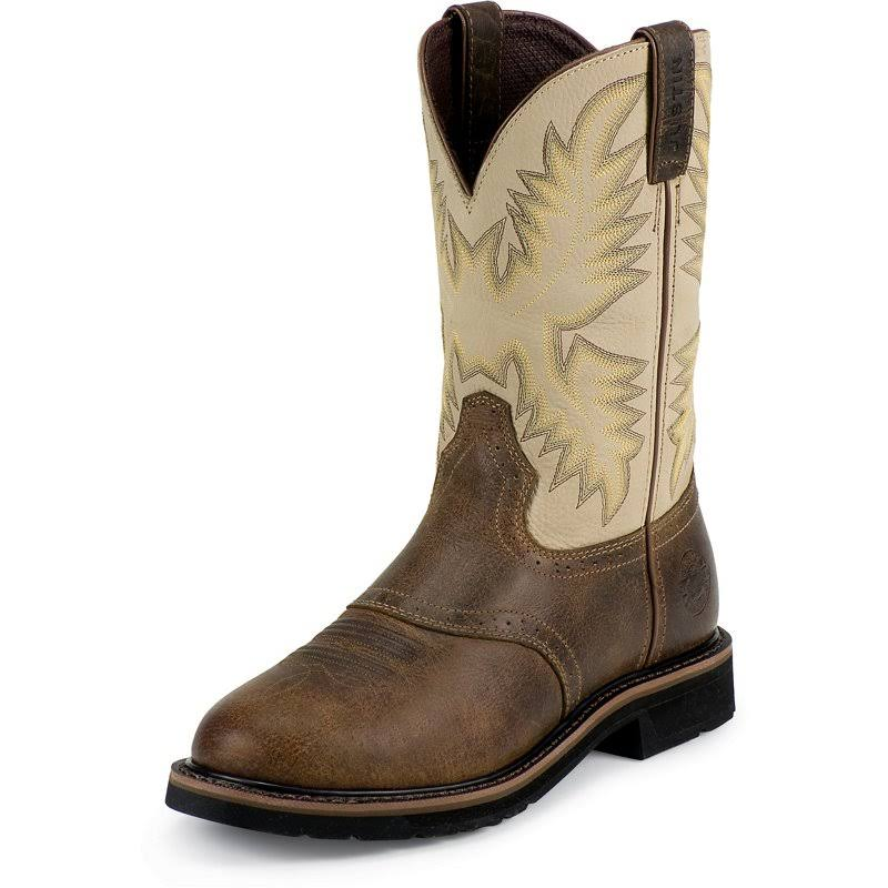 Justin Men's Stampede Work Boots - Waxy Brown, 13 USM