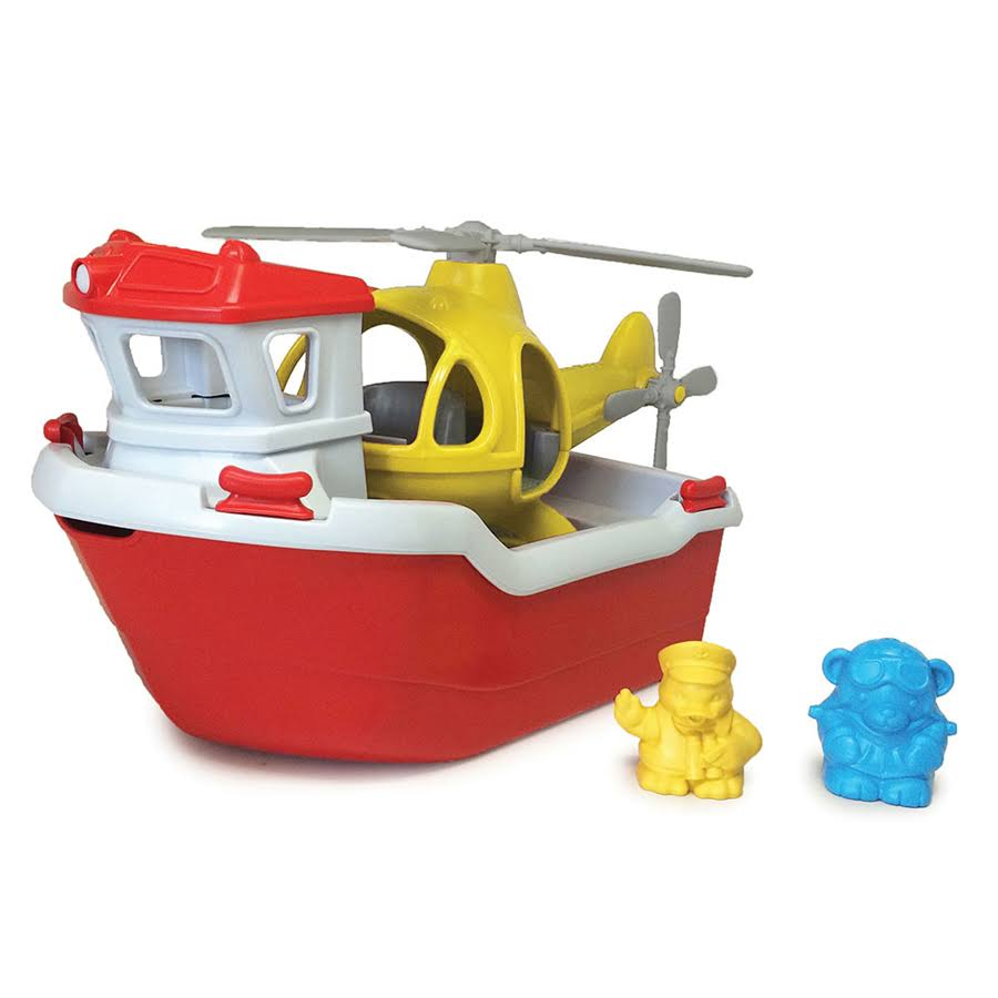 Green Toys Rescue Boat & Helicopter Set