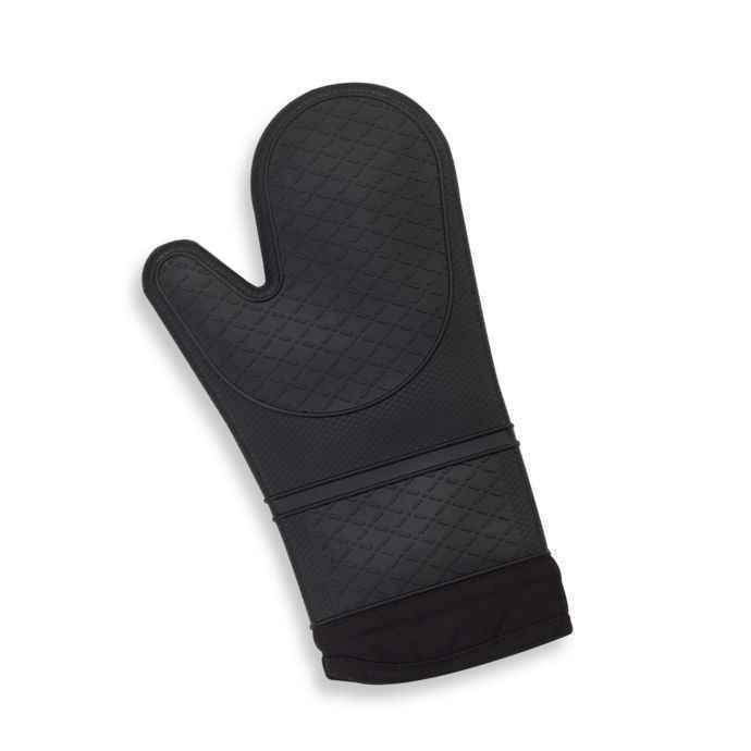 Silicone Quilted Oven Mitt in Black