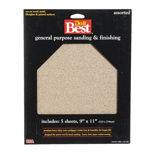 "Do It Best Aluminum Oxide Sandpaper - 5 Sheets, 9""x11"""