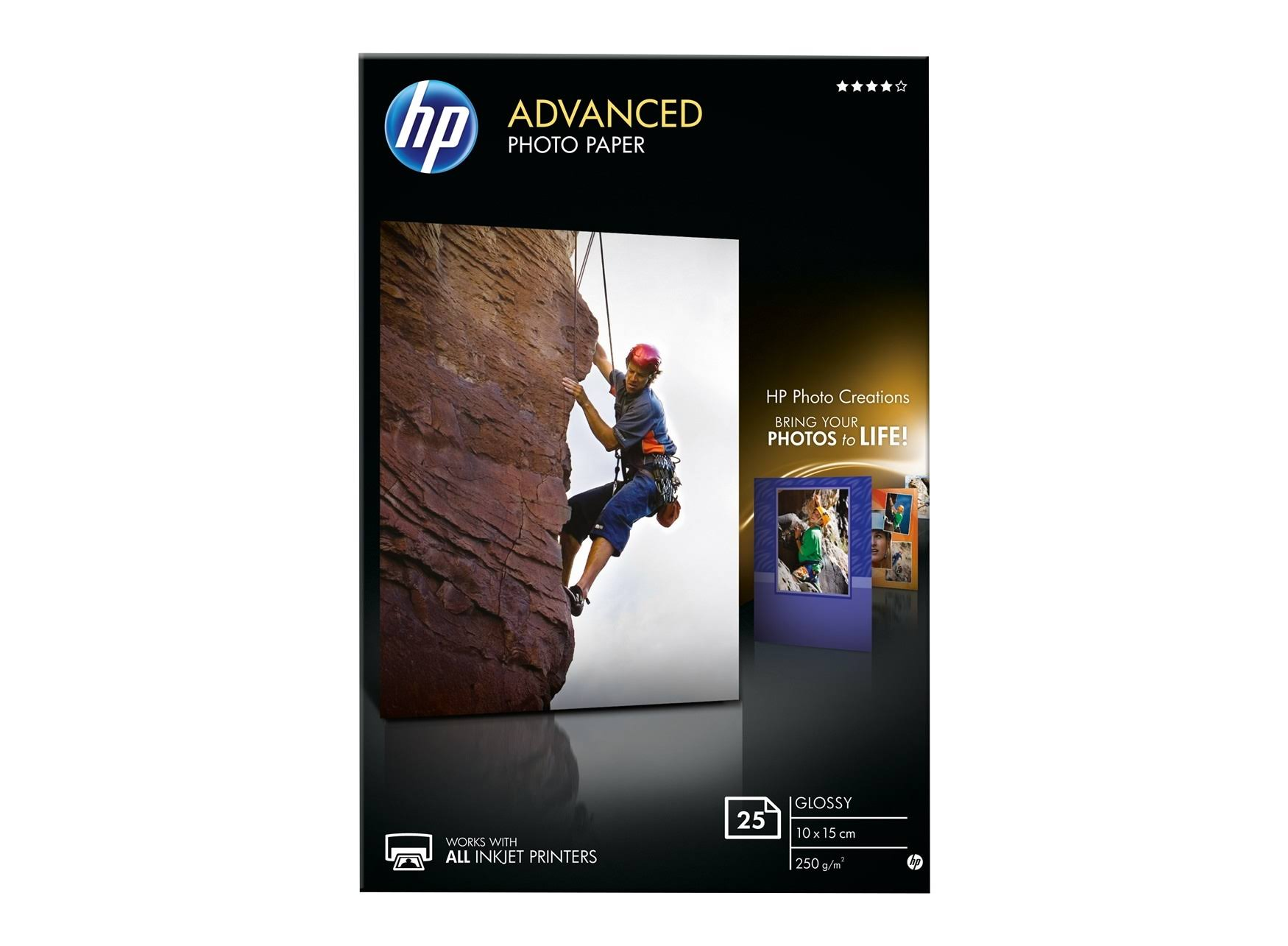 HP Advanced Borderless Glossy Photo Paper - White, 10x15cm, 25 Sheet