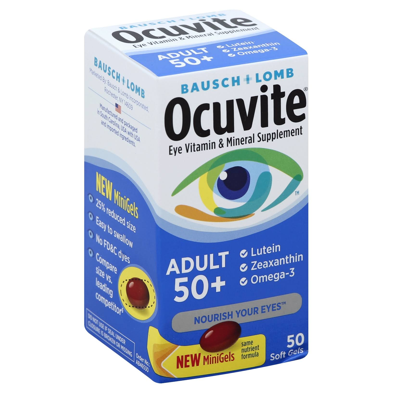 Bausch & Lomb Ocuvite Adult 50+ Eye Vitamin & Mineral Softgels - 50 Softgels