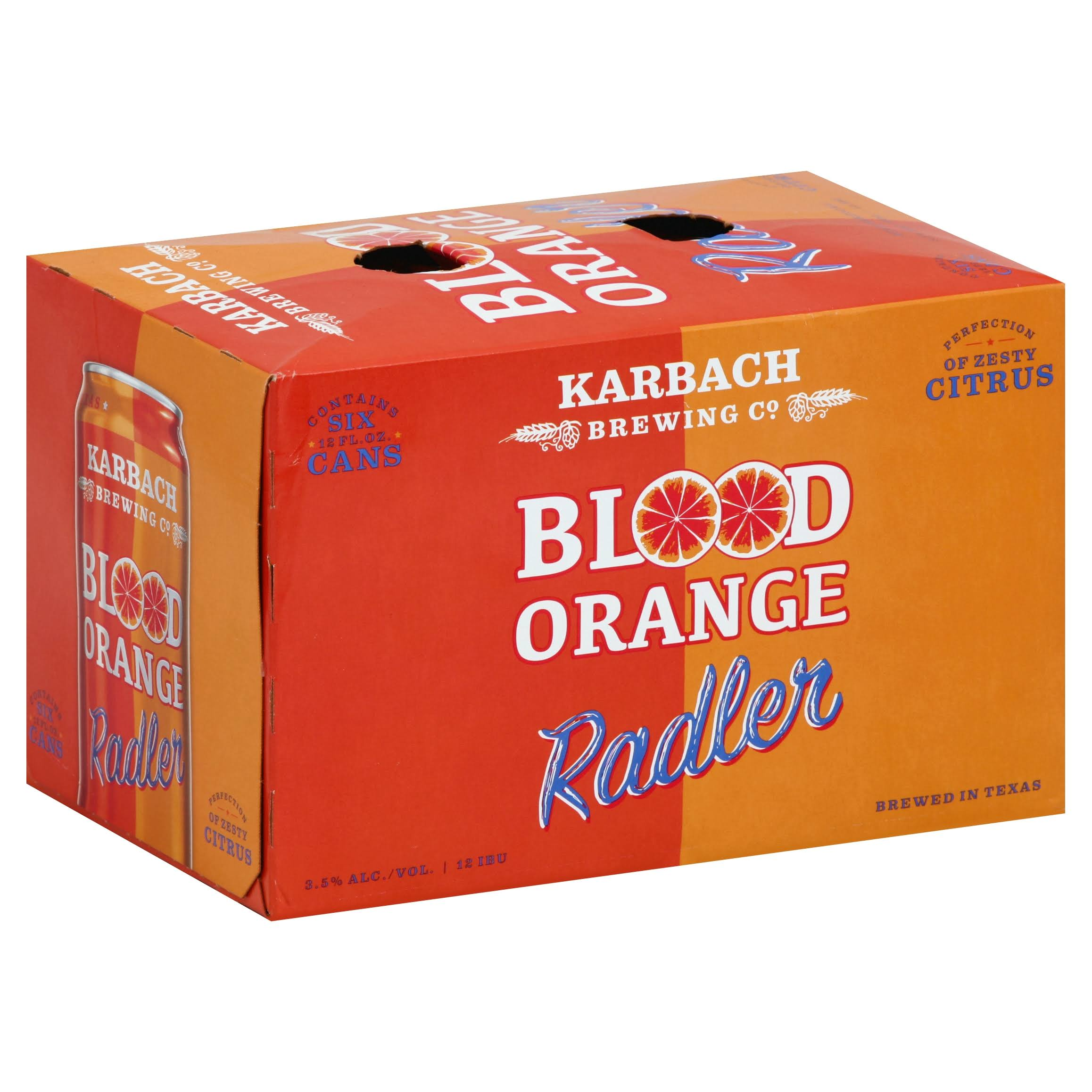 Karbach Beer, Radler, Blood Orange - 6 pack, 12 fl oz cans