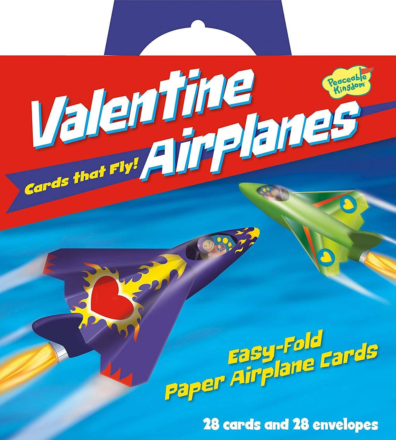 Peaceable Kingdom Valentine Paper Airplanes Cards