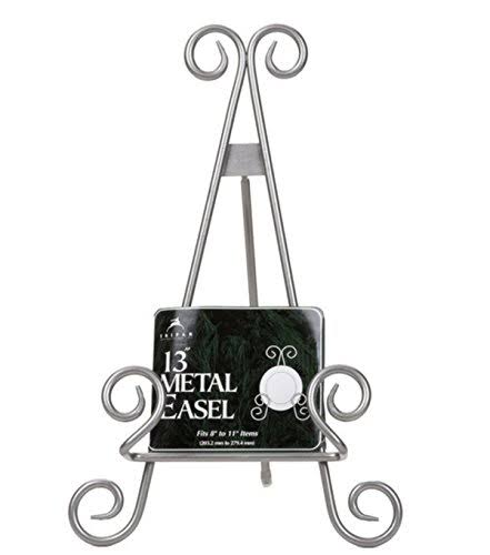 Tripar Stratford Metal Easel Plate Display Photo Holder Stand - Silver Finish, 13""