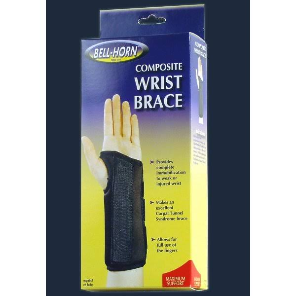 Bell-Horn Composite Left Wrist Brace - Black, Size 20, Large