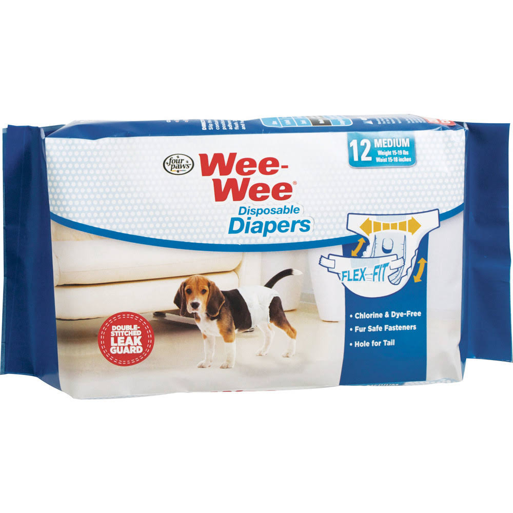Wee-wee Disposable Dog Diapers - Medium, 12 Pack