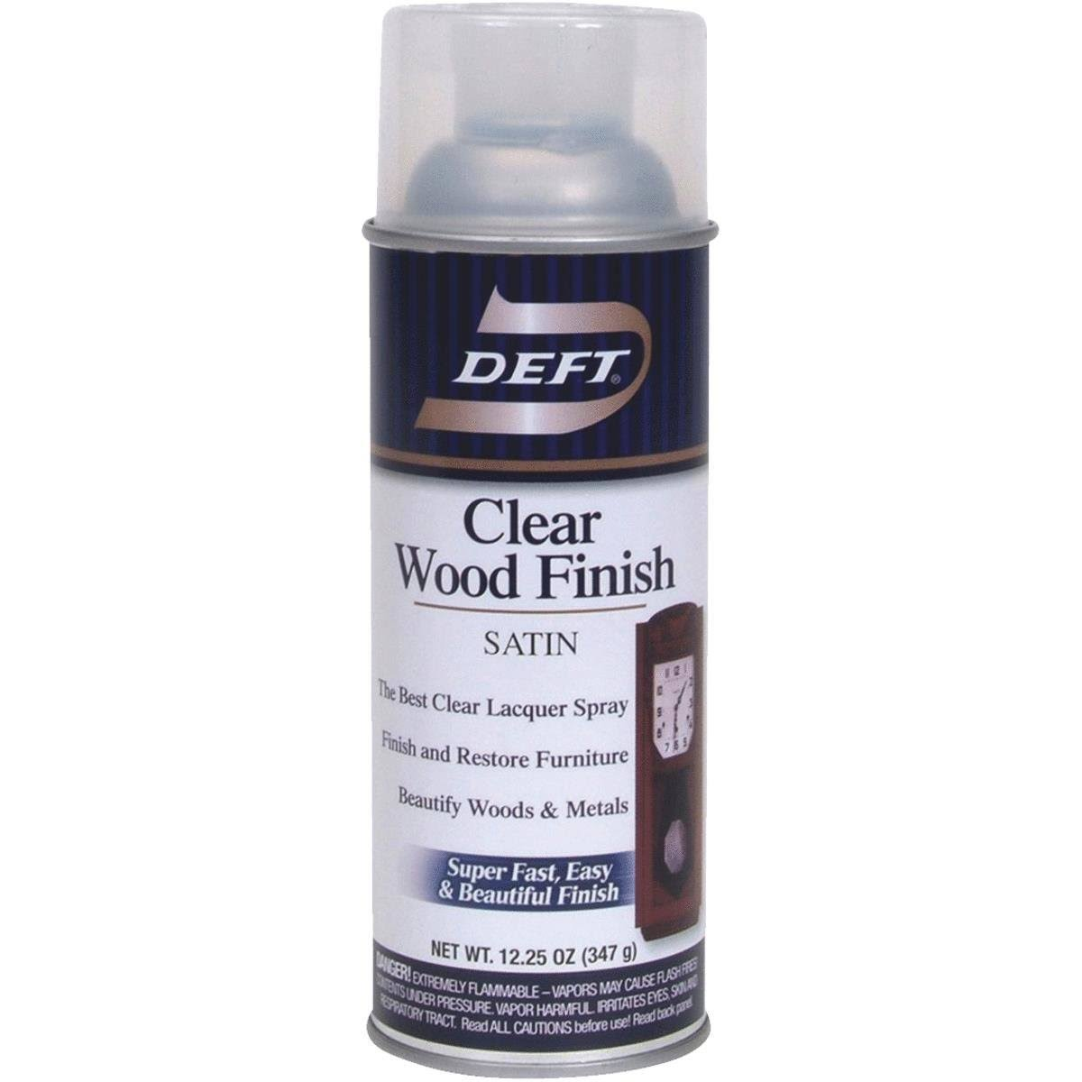 Deft Lacquer Spray - Satin, Clear, Wood Finish