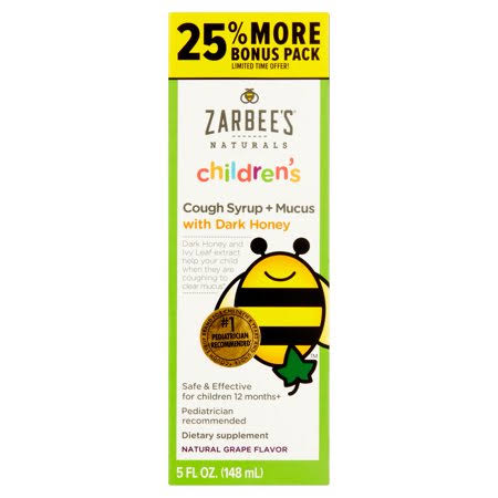 Zarbee's Naturals Children's Natural Grape Flavor Cough Syrup + Mucus - 5oz