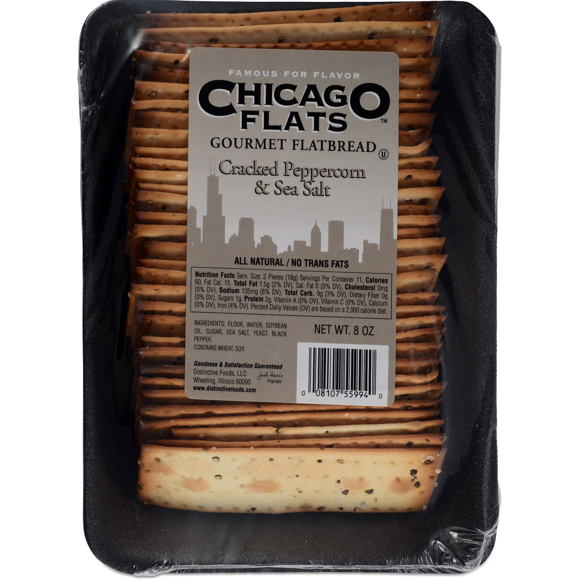 Chicago Flats Flatbread, Gourmet, Cracked Peppercorn & Sea Salt - 8 oz