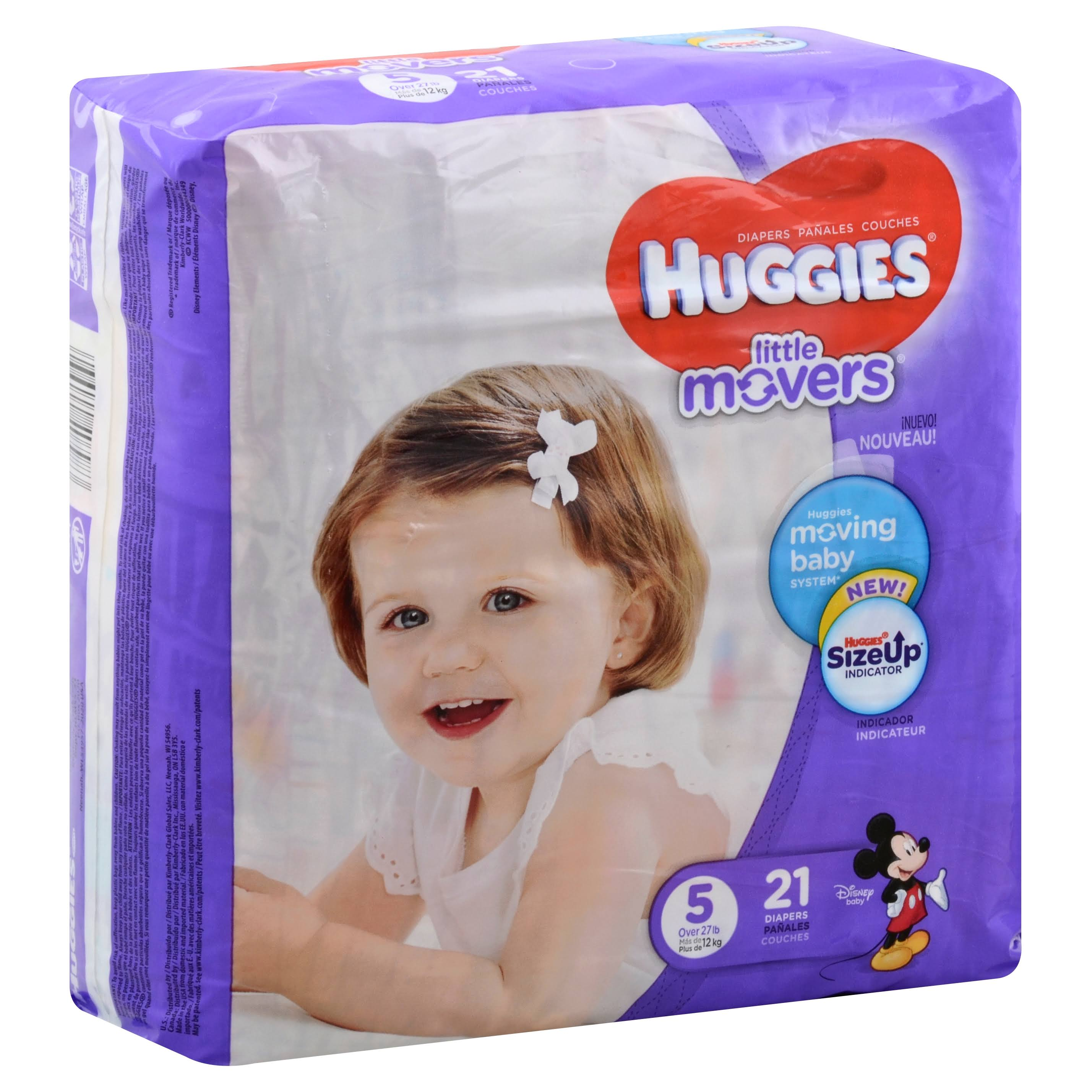 Huggies Little Movers Diapers - 5 Over 27lb, 21pk