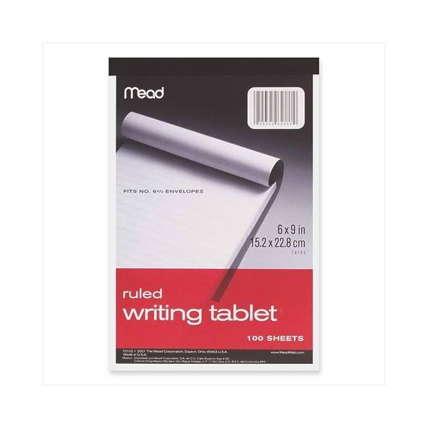 Mead Writing Tablet - 100 Sheets, Ruled, White