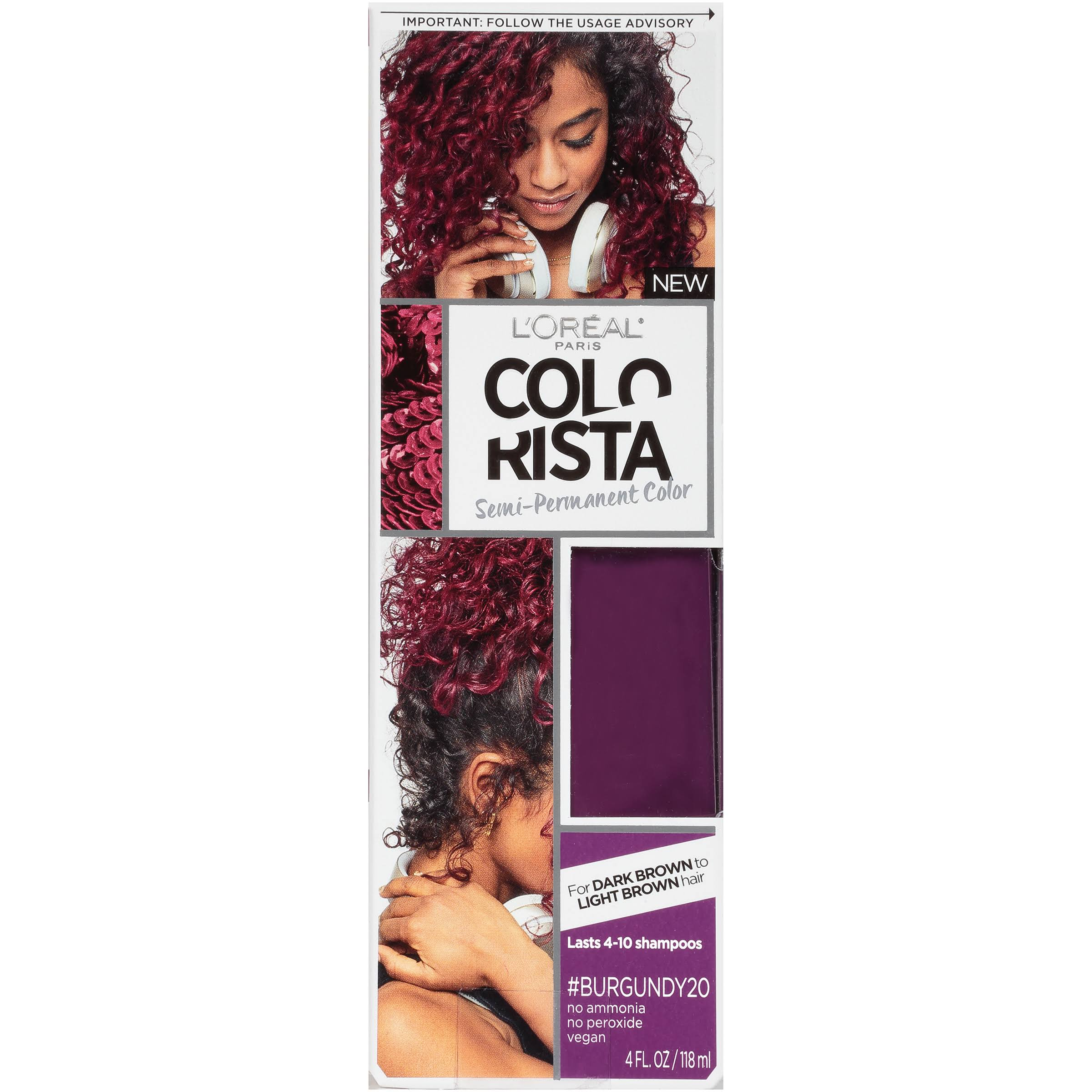 L'Oréal Paris Colorista Semi Permanent Hair Colour - For Brunettes, Burgundy