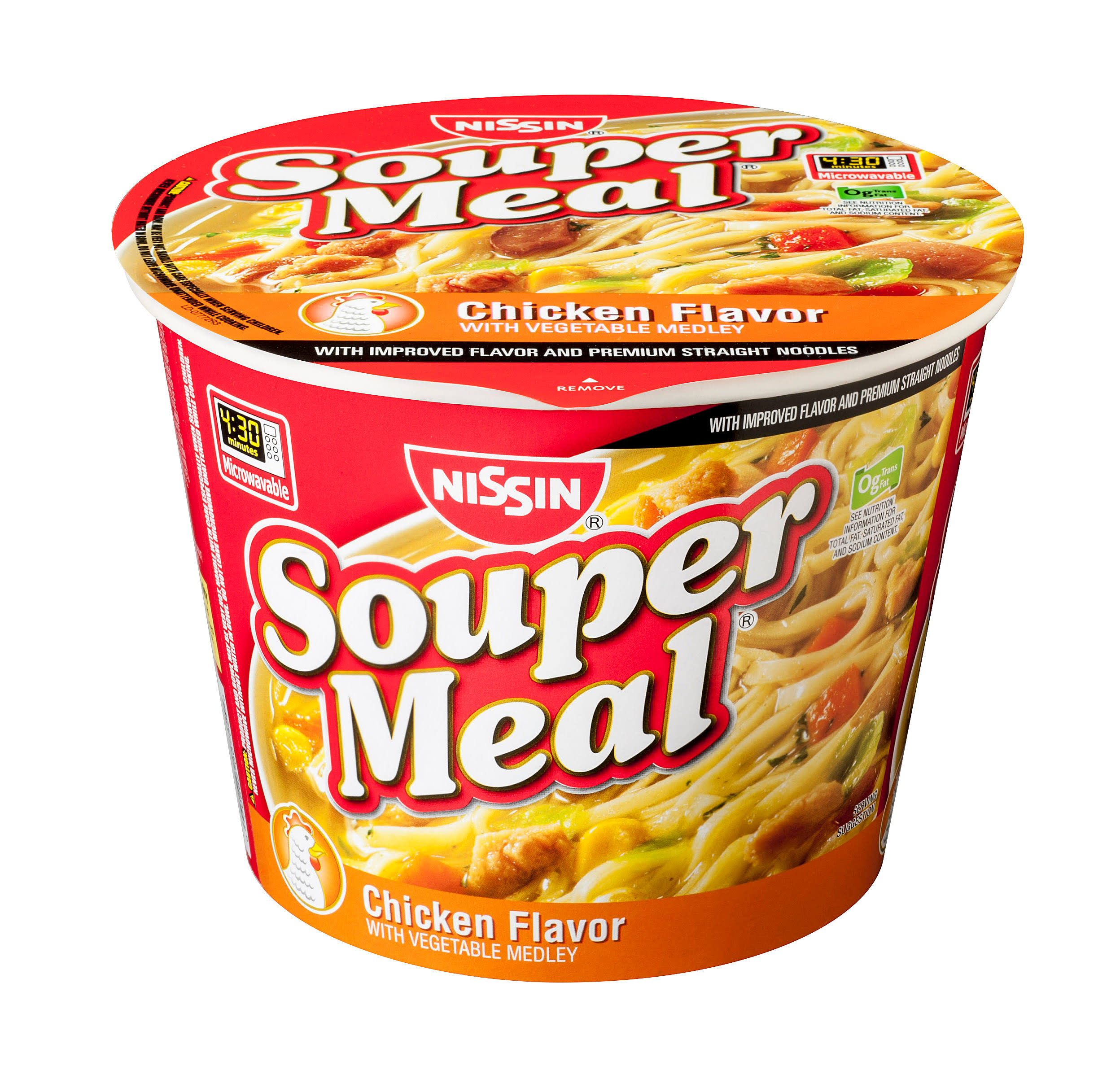 Nissin Souper Meal Ramen Noodle Soup - Chicken Flavor with Vegetable Medley, 4.3oz