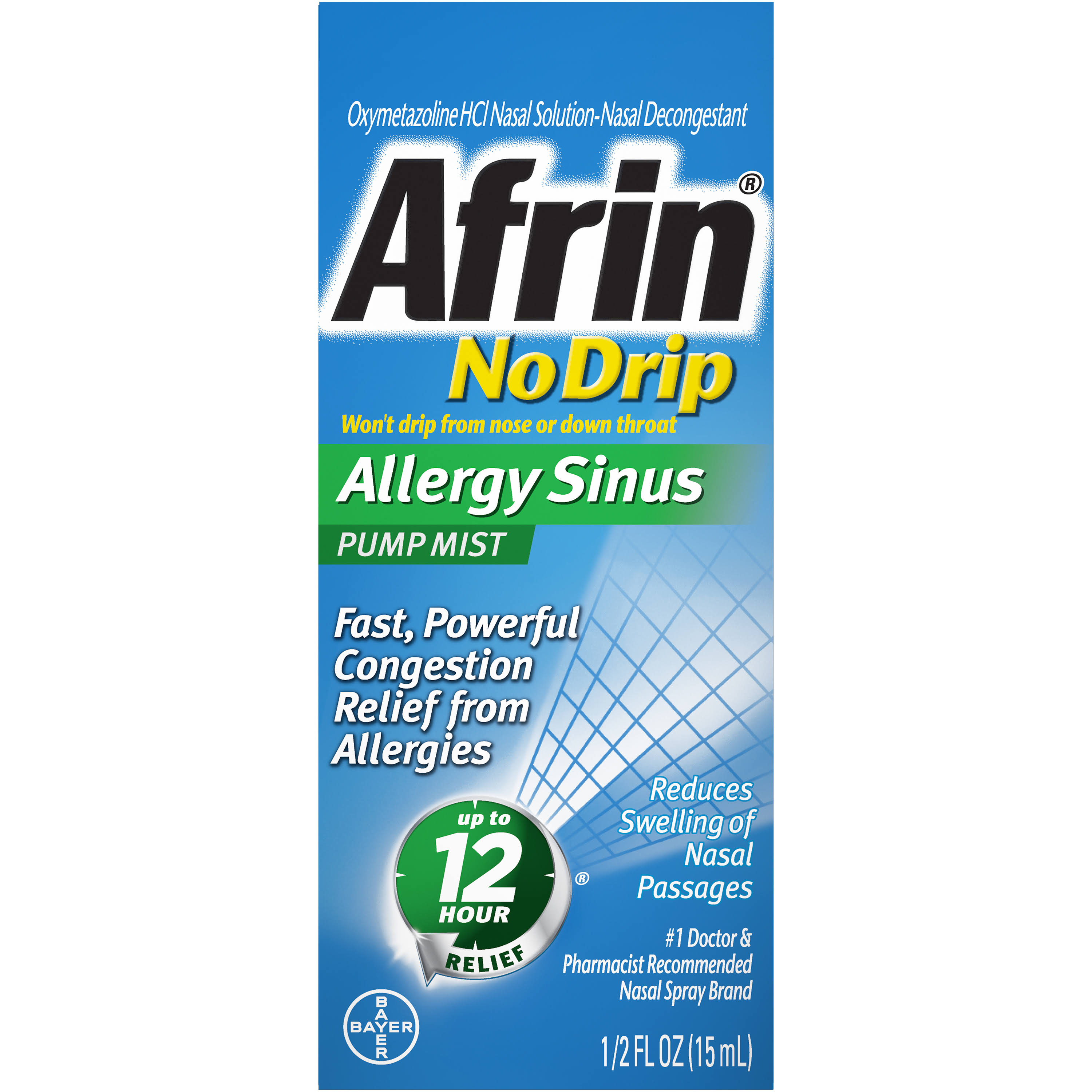 Afrin No Drip Sinus Nasal Decongestant Pump Mist .50 fl. oz. Box
