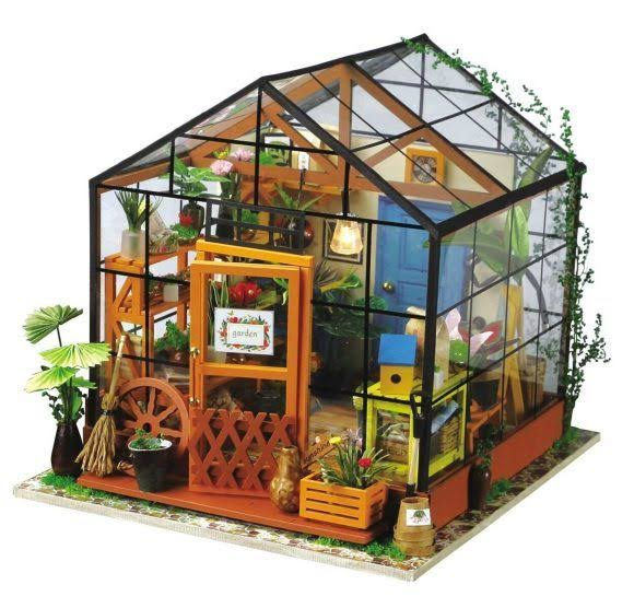 Robotime Miniature 3D Greenhouse Craft Kits for Adults - Wooden Dolls House with Furniture and Accessories, Educational Toys for Girls