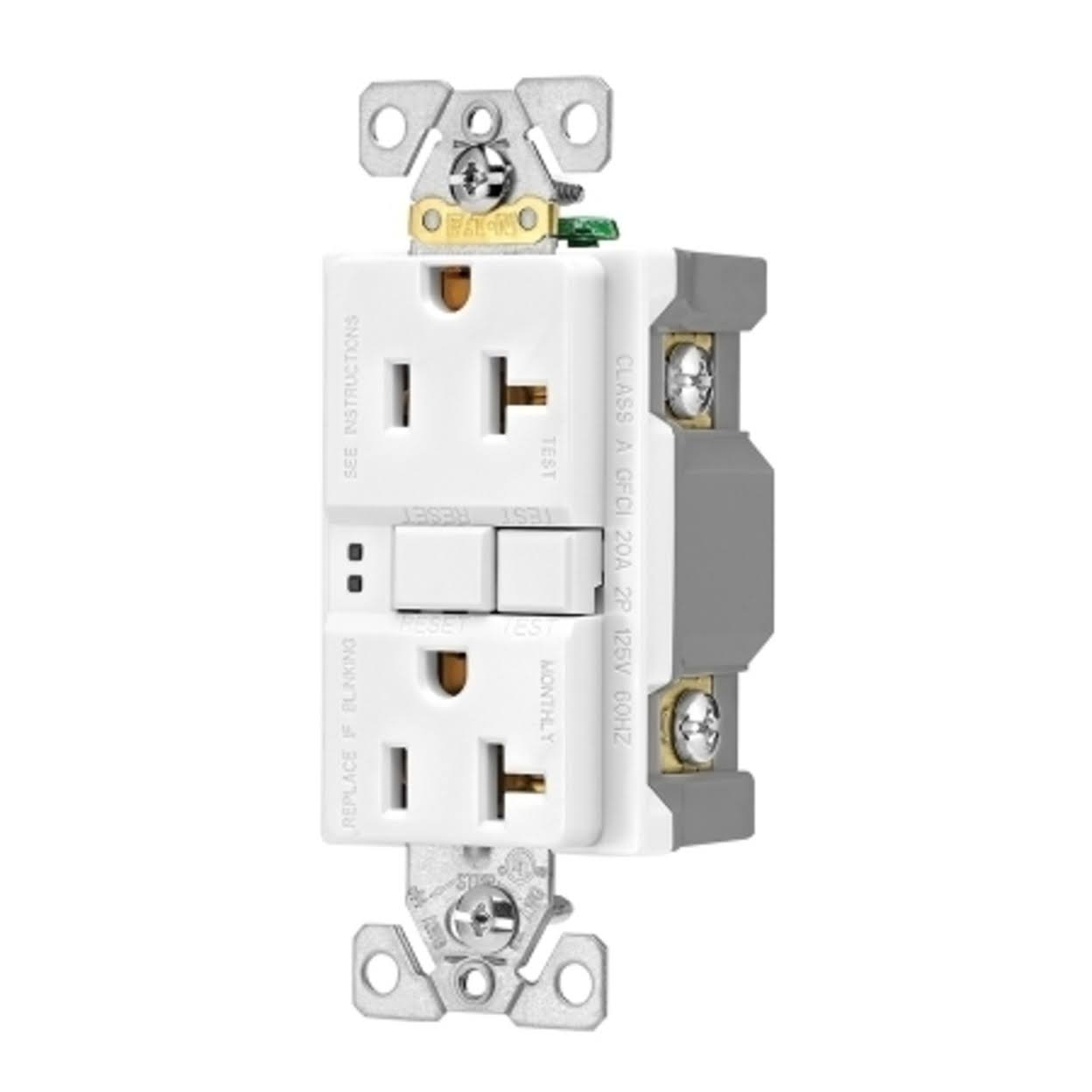 Eaton GFCI Self-Test Duplex Receptacle with Standard Wallplate - White, 20A, 125V