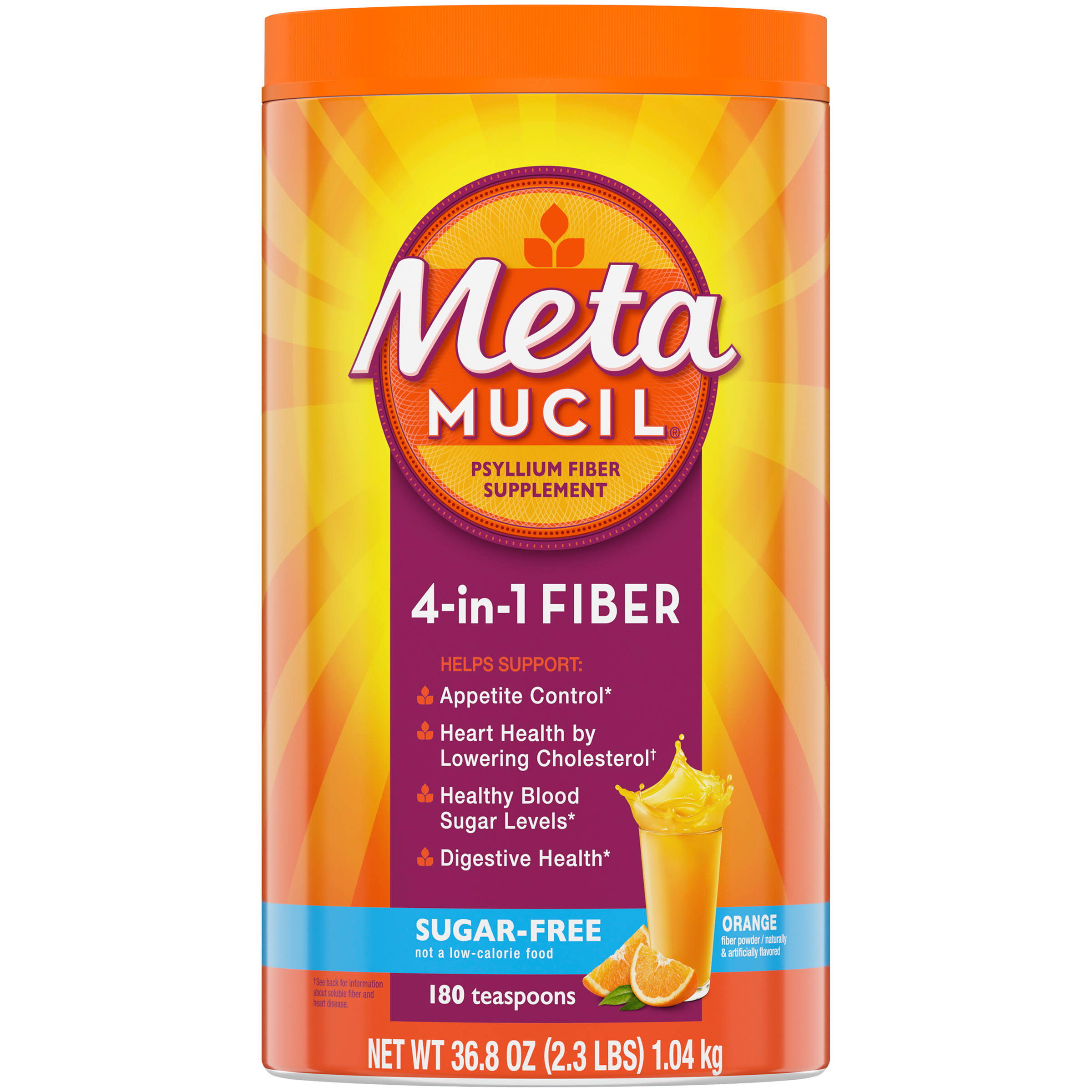 Metamucil Psyllium Fiber Dietary Supplement - Orange Smooth, 36.8oz