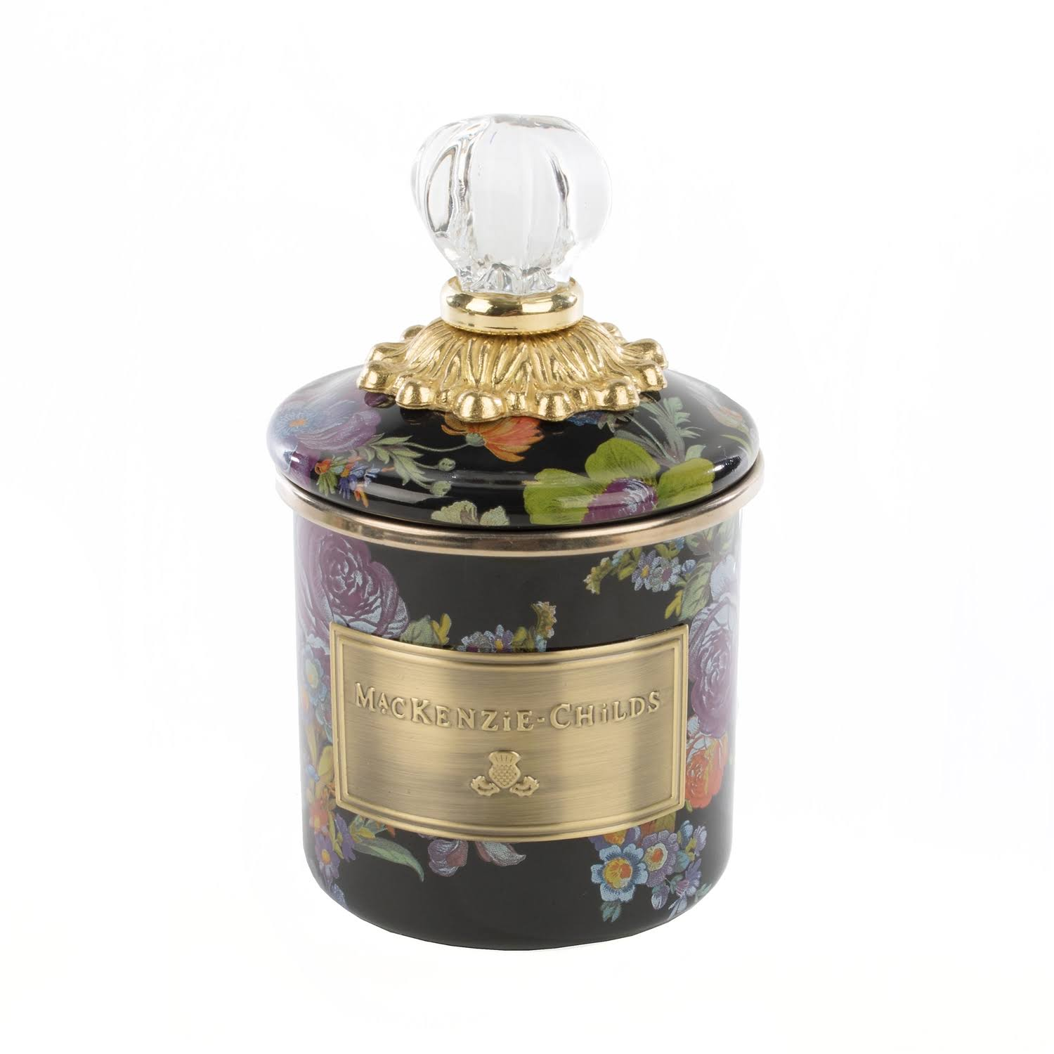 MacKenzie-Childs Flower Market Black Mini Canister