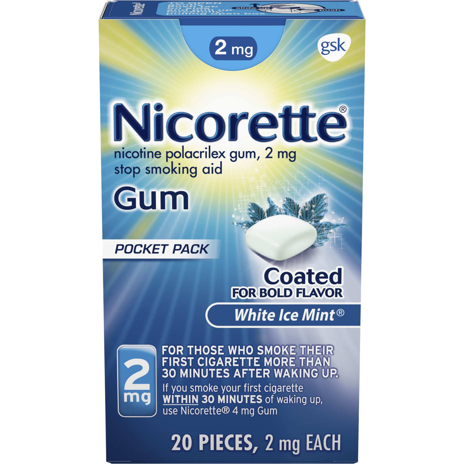 Nicorette Stop Smoking Aid, 2 mg, Gum, White Ice Mint, Pocket Pack - 20 pieces