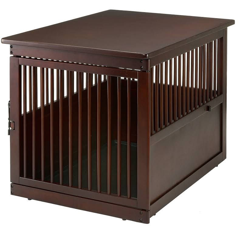 Richell Wood End Table Dog Crate Side Stopper Dark Brown R94917 Large upto 88lbs