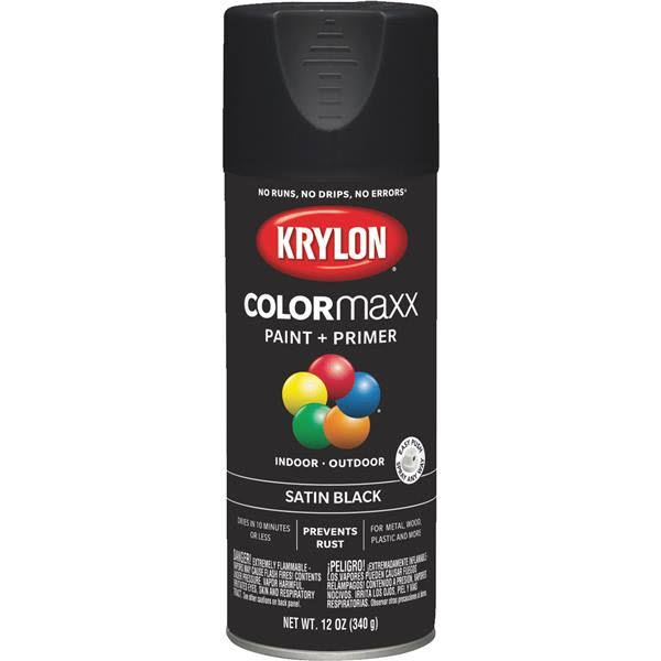 Krylon K05557007 COLORmaxx Spray Paint Satin Black 12 Ounce