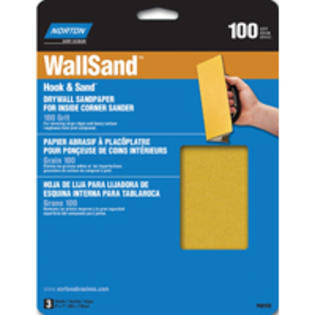 "Norton Abrasives Hook and Loop Corner Sand Paper - 8"" x 7"", 100 Grit"