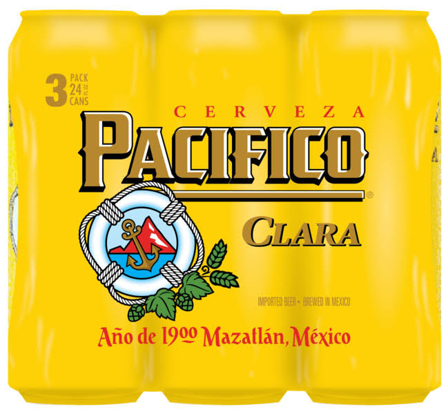 Pacifico Clara Mexican Import Beer, 3 Pk 24 fl oz Cans, 4.4% Abv