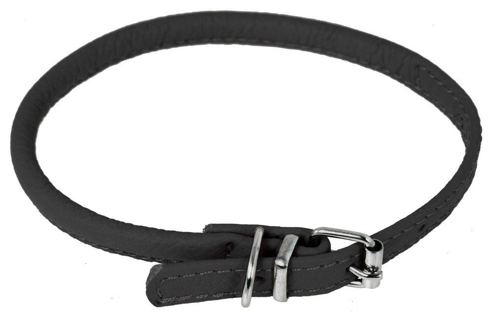 "Dogline Soft Padded Rolled Round Leather Dog Collar - 10 to 13"", 1/4"" Wide"