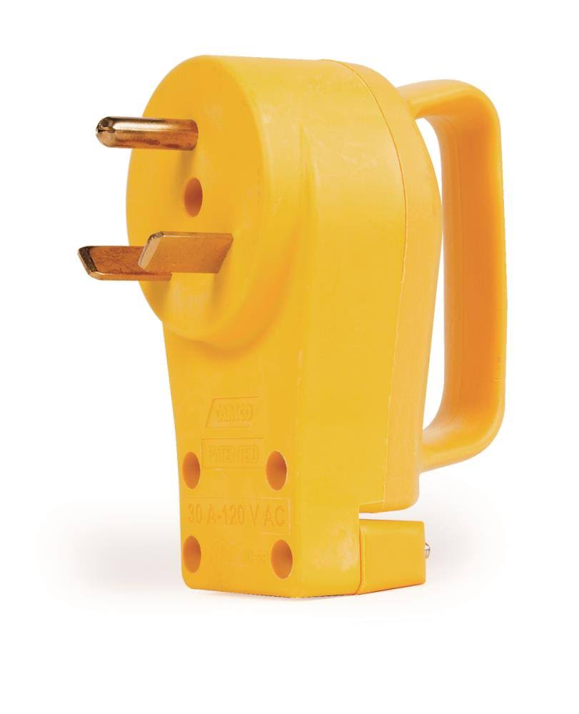 Camco 55245 RV PowerGrip Replacement Plug - Yellow, 30 Amp